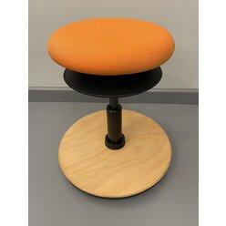 Löffler ERGO TOP Hocker 32-39 cm, Stoff orange mit Bodenwippe Buche natur, Sitzfläche 30 cm für Kinder