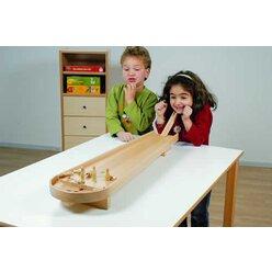 Tischkegelbahn, aus Buchenholz, 86 cm lang, ab 4 Jahre