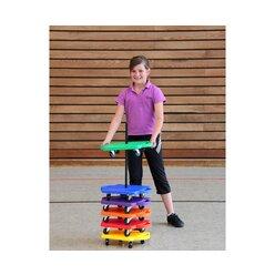 Sparset mit 6 farbigen kleinen Rollbrettern, 30x 30cm, belastbar bis 80kg, ab 3 Jahre