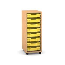 Flexeo Regal PRO mit 1 Reihe, Rollen, inkl. 8 kleine Boxen gelb, Dekor: Buche hell