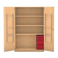 Flexeo Musikschrank mit 4 Kunstoffboxen rot (Lieferzeit ca. 10-12 Wochen)