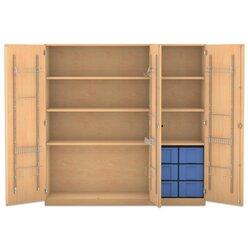 Flexeo Musikschrank, Buche hell mit 6 großen Boxen blau (Lieferzeit ca. 10-12 Wochen)
