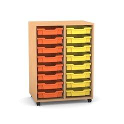 Flexeo Regal PRO mit 2 Reihen, Rollen, inkl. 16 kleine Boxen orange/gelb, Dekor: Buche hell (Lieferzeit ca. 10-12 Wochen)