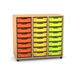 Flexeo Regal PRO mit 3 Reihen, Rollen, inkl. 24 kleine Boxen orange/gelb/grün Dekor: Buche hell (Lieferzeit ca. 10-12 Wochen)