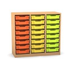 Flexeo Regal PRO mit 3 Reihen und 24 kleinen Boxen Dekor Buche hell, Sockel, Boxen orange gelb grün (Lieferzeit ca. 10-12 Wochen)
