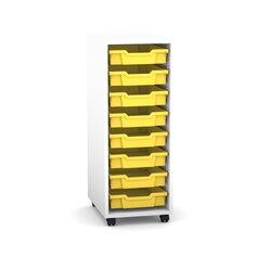 Flexeo Regal PRO mit 1 Reihe, Rollen, inkl. 8 kleine Boxen gelb, Dekor: weiß