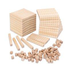 Zehnersystemsatz aus Holz: 100 Einer, 10 Zehner, 10 Hunderter, 1 Tausender, 6-10 Jahre