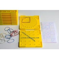 Geobrett 5x5 doppelseitig gelb 15 cm, Kreis und Quadrat inkl. Gummiringe