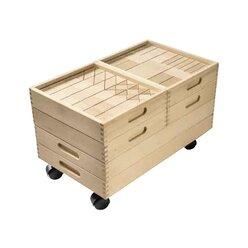 Fröbel-Bauwagen, 230 Bausteine in 6 Holzkästen