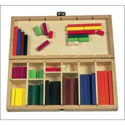 Cuisenaire-Stäbe farbig, 100 Stück im Holzkasten