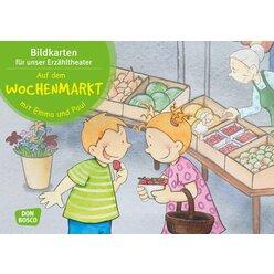 Kamishibai Bildkartenset - Auf dem Wochenmarkt mit Emma und Paul, 1-5 Jahre