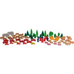 Tiere und Figuren, Hartholzfiguren (74 Stück)