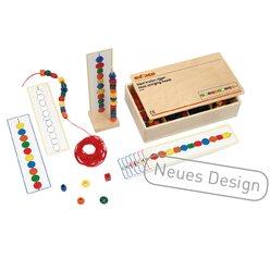Perlenkettenset Maxi, 130 Kunststoffperlen in Holzbox, ab 4 Jahre