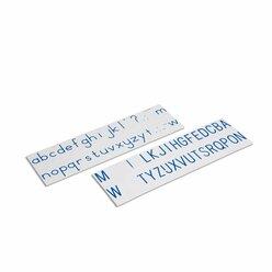 Aufgedruckte Buchstaben, Druckschrift internationale Version, blau, ab 6 Jahre