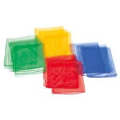 Jongliertücher - 4 Farben 68 x 68 cm, 12er-Set, rot, blau, gelb, grün