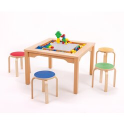 LEGO Spieltisch für LEGO und DUPLO mit 4 Holzhockern 51001