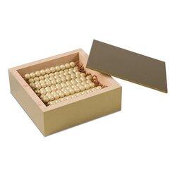 Kasten mit 45 goldenen Zehnerstangen, lose Perlen Kunststoff