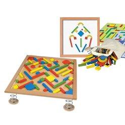 Labyrinth auf Federn, Kugelbahn und Legespiel