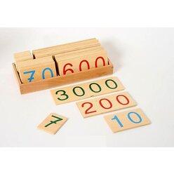 Zahlenkarten 1-9000 groß, im Holzkasten, ab 5 Jahre