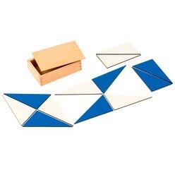 Zwölf blaue Dreiecke im Holzkasten, ab 5 Jahre