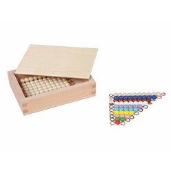 Kasten mit farbiger Perlentreppe von 1-9 und neun goldenen Zehnerstäbchen, lose Perlen, Glas