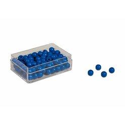 Kunststoffdose mit 100 blauen Perlen