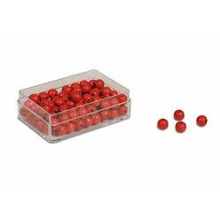 Kunststoffdose mit 100 roten Perlen