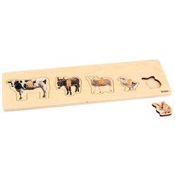 Kleinkind Puzzle - 5 Bauernhoftiere, ab 2 Jahren