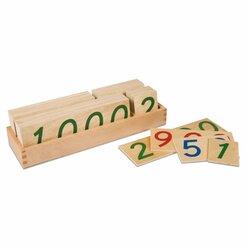 Große hölzerne Zahlenkarten im Holzkasten 1-9000, ab 4 Jahre