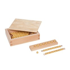 Kasten mit neun goldenen Zehnerstäbchen und zehn goldenen Einerperlen, lose Perlen Kunststoff