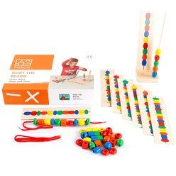 Perlen sortieren, Fädelspiel mit Aufgabenkarten, ab 3 Jahre