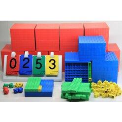 Dezimalmaterial 198 Teile aus RE-Plastic°, Klassensatz mit 9 Tausenderwürfel
